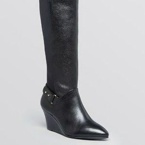 STEVEN Wedge Leather Elastic Harness Boot